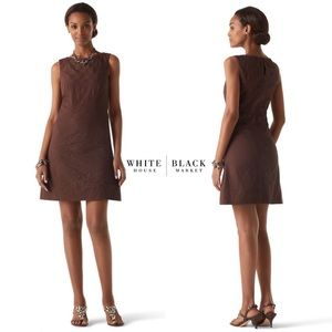 WHBM Espresso Brown Embroidered Shift Dress